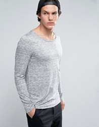 Asos Long Sleeve T Shirt In Space Dye With Scoop Neck Grey