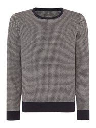 Peter Werth Men's Orton Dogtooth Knitted Long Sleeved Cotton Crew N Navy