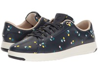 Cole Haan Grandpro Tennis Navy Dotted Floral Lace Up Casual Shoes