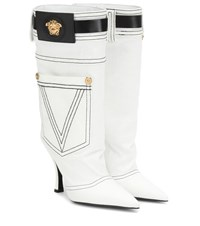 Versace Leather Trimmed Denim Boots White