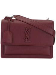 Saint Laurent Medium Sunset Monogram Satchel Bag Red