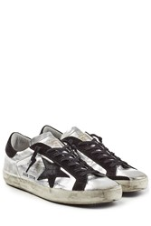 Golden Goose Super Star Metallic Leather Sneakers Silver