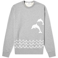 Thom Browne Dolphin Embroidered Crew Sweat Grey