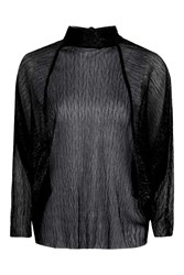 Topshop Metallic Tie Back Batwing Black