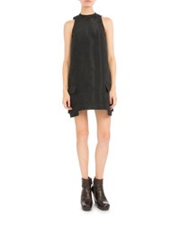 Rick Owens Mock Neck Double Pocket Shift Dress Black