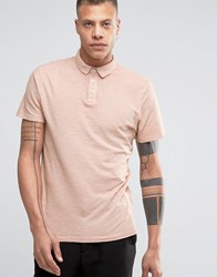 Selected Slim Fit Slub Jersey Polo Shirt With Overdye Pink