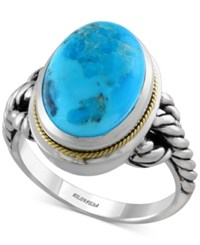 Effy Collection Turquesa By Effy Manufactured Turquoise Braided Style Ring 5 3 4 Ct. T.W. In Sterling Silver And 18K Gold Blue