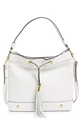 Milly 'Astor' Tassel Leather Hobo White