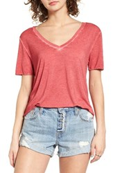 Women's Bp. Washed V Neck Tee Red Pepper