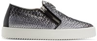 Giuseppe Zanotti Black And Silver May London Slip On Sneakers