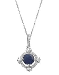 Lord And Taylor 14Kt. White Gold Sapphire Diamond Pendant Necklace Sapphire White Gold