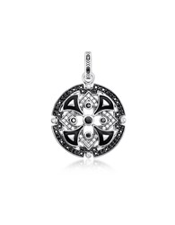 Thomas Sabo Necklaces Blackened Sterling Silver W Black And White Cubic Zirconia Pendant
