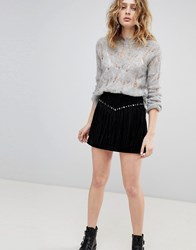 Goosecraft Suede Skirt With Fringing And Studs Black