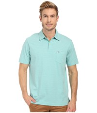 Vineyard Vines Heather Feeder Stripe Polo Aquinnah Aqua Men's Clothing Blue