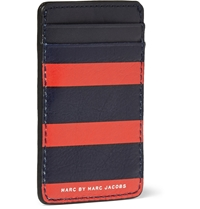 Marc By Marc Jacobs Striped Leather Cardholder Red