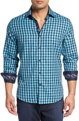 Stone Rose Men's Trim Fit Embroidered Trim Dobby Gingham Sport Shirt Turquoise
