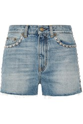 Saint Laurent Studded High Rise Denim Shorts