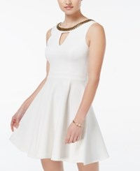Xoxo Juniors' Beaded Fit And Flare Dress Ivory