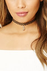 Forever 21 Moon Tattoo Choker Black Silver