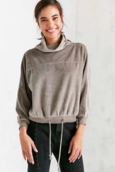 Silence And Noise Rookie Velvet Cowl Neck Top Silver