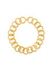 Chanel Vintage Gourmette Couture Hoop Necklace Metallic