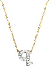 Jane Basch Designs Women's Jane Basch Diamond Initial Pendant Necklace Gold Q