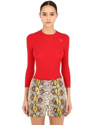Rochas Cotton Rib Knit Sweater Red