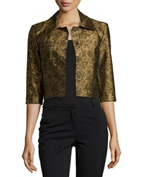 Oscar De La Renta Metallic Crop Jacket Gold