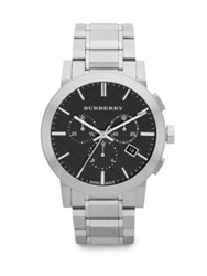 Burberry Brushed Stainless Steel Chronograph Watch Black
