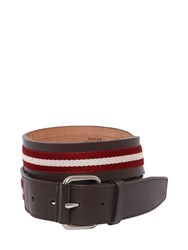 Bally 40Mm Saffiano Leather Belt W Stripes Brown