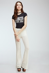Forever 21 Diamond Patterned Lace Pants Cream