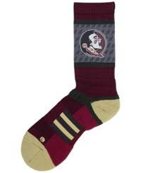 Strideline Men's Florida State Seminoles Crew Socks Maroon Old Gold