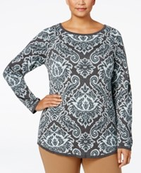 Charter Club Plus Size Jacquard Paisley Sweater Only At Macy's Dusted Aqua Combo