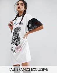 Jaded London Tall Oversized Rock T Shirt Dress With Mesh Frilly Sleeve Cream