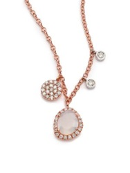Meira T Chalcedony Mother Of Pearl Diamond And 14K Rose Gold Charm Necklace