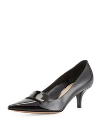 Delman Baily Patent Low Heel Pump Black