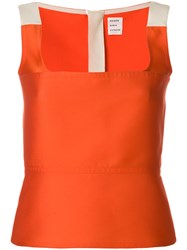 Maison Rabih Kayrouz Colour Block Fitted Vest Top Yellow And Orange