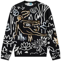 Kenzo Rousseau Embroidered Crew Knit Black