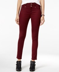 Tinseltown Juniors' 2 Button High Waist Colored Skinny Jeans Point Noir