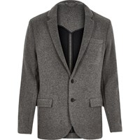 River Island Mens Grey Knitted Jersey Slim Blazer