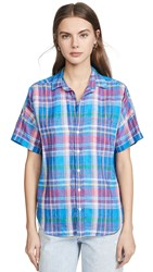 Frank And Eileen Rose Button Down Blue Green Plaid
