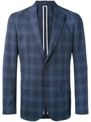 Hardy Amies Checked Blazer Viscose Virgin Wool Blue