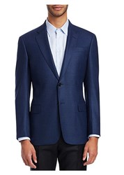 Emporio Armani Houndstooth Wool Sportcoat Blue
