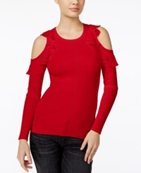 Guess Ruffled Cold Shoulder Sweater Red