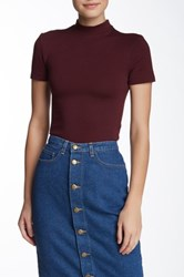 American Apparel Short Sleeve Mock Neck Shirt Red