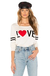 Chaser Love Crew Neck Pullover Sweater White