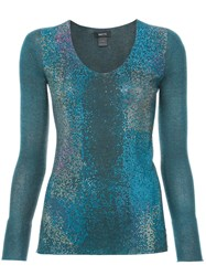 Avant Toi Degrade Studs Knitted Blouse Silk Polyester Cashmere Blue