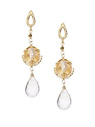 Azaara White Topaz And Wrapped Crystal Drop Earrings Goldtone