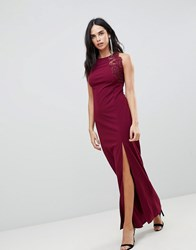 Ax Paris Slinky Maxi Dress With Side Slit Purple