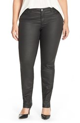 Plus Size Women's Junarose Coated Stretch Skinny Jeans Black